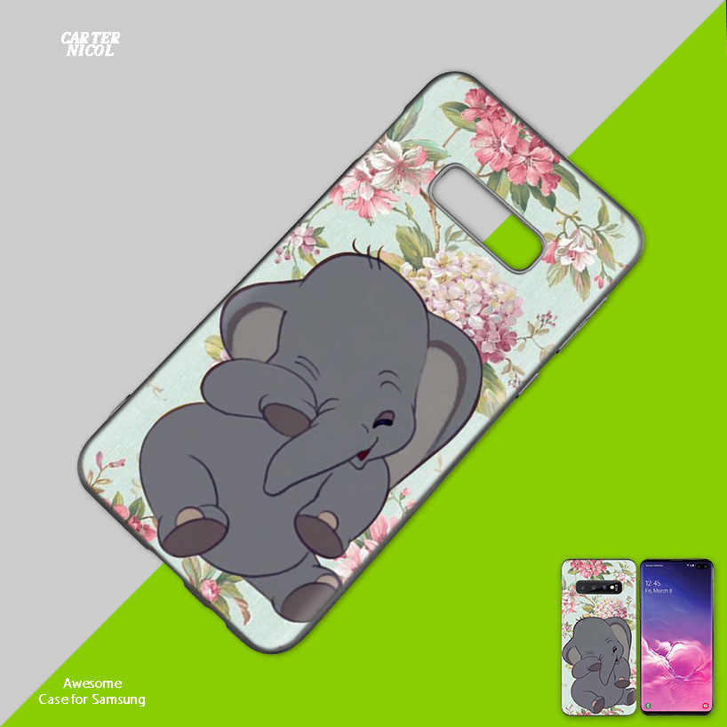Animation Dumbo Black Silicone Case Cover for Samsung Galaxy S10 S10e 5G S9 S8 S7 S6 Edge J8 J6 J5 J4 Plus 2018 Note 10 Plus 5G