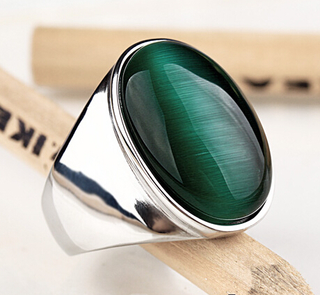 Brand New Hot Titanium steel Punk Green Opal Wide Ring Unisex Personality High Quality Men and Women Fashion Jewelry