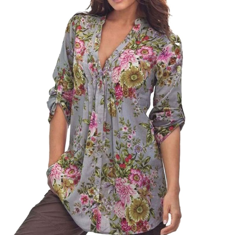 Women Sexy V-Neck Floral Loose Long Sleeve Top Tees Shirts Blouses Clothing Clothes Cotton Blend Three Quarter Tops Blusas