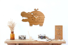 Hippo Shape Kids Wooden Wall Clock