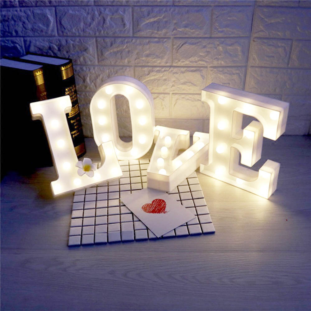 26 LED Letters Light Alphabet White Night Light Home Wall Hanging Decoration Lamp Birthday Wedding Party
