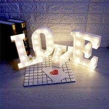 26 Letra Do Alfabeto branco Noite LED Cresce A Luz Da Lâmpada Decoração Da Parede Para Crianças Quarto crianças Brinquedo para letras los levou