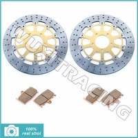 Gold Round New Motorcycle Front Brake Discs Rotors Brake Pads For SUZUKI SV 1000 SV1000 S