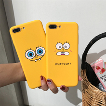 JAMULAR Cartoon SpongeBob Phone Case For iPhone X XS MAX 6 6s 7 8 Plus Funny Letter Yellow Matte Silicone Back Cover Slim Fundas