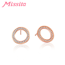 MISSITA Trendy Geometric Round Earrings for Women Wedding Stud Earring Brand Fashion Jewelry Anniversary Gift