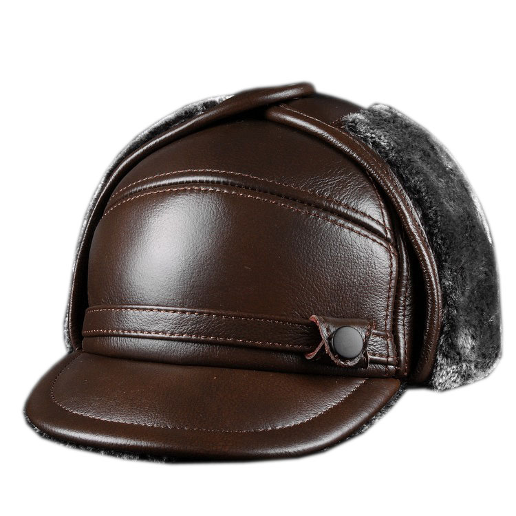 Leather Cap Men's Leather Hat Outdoor Leather Hat Fur Hat 2019 Winter Fashion Husband Father Hat For Gift