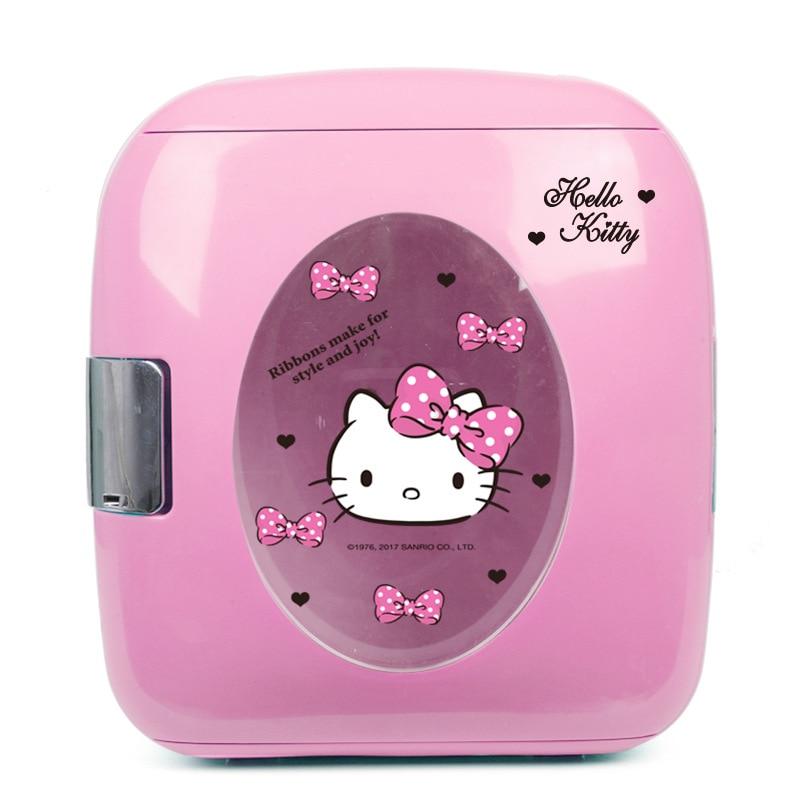 Hello Kitty 9L Mini Refrigerator Car Home Dual-use Refrigerator Storage Dc 12v Refrigeration Nevera Picninc Cooler Box Fridge