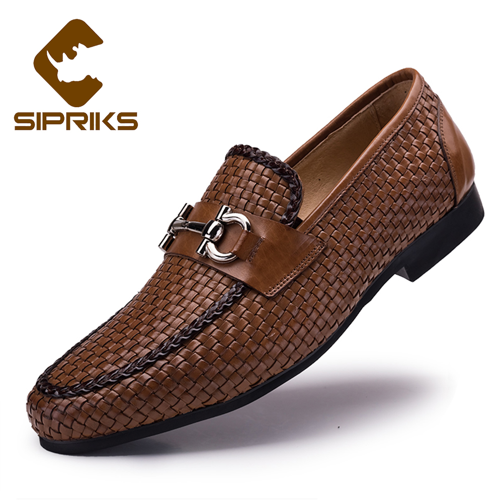 Sipriks Mens Woven Loafers Black Brown Genuine Leather Round Toe Slip On Shoes Mens Designer Loafers Mens Moccasin Slippers 2017
