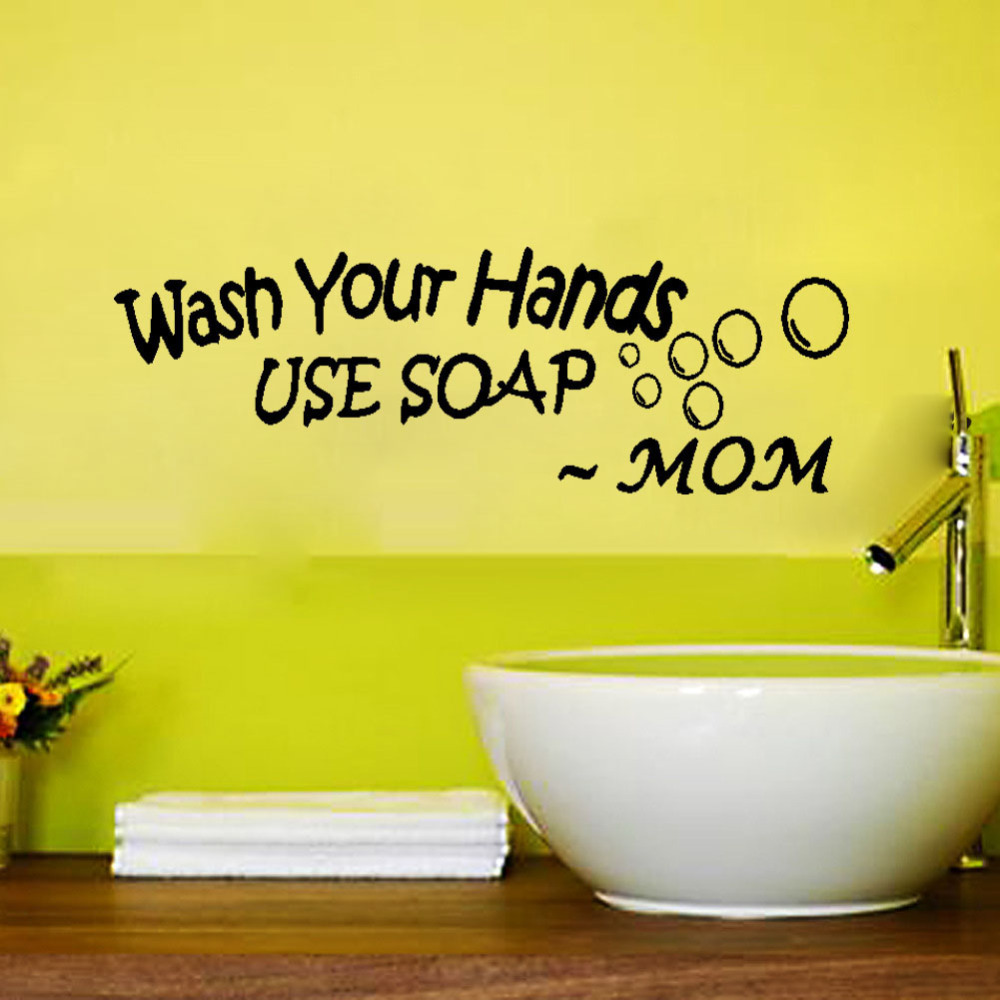 Bathroom Wall Stickers Wash Your Hands Use Soap Mom Waterproof Art ...
