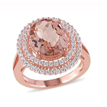 Big Round Orange Stone Rings for Women Wedding Rose Gold Crystal Zircon Ring Elegant Jewelry Bague Femme Anillos Mujer L4H932