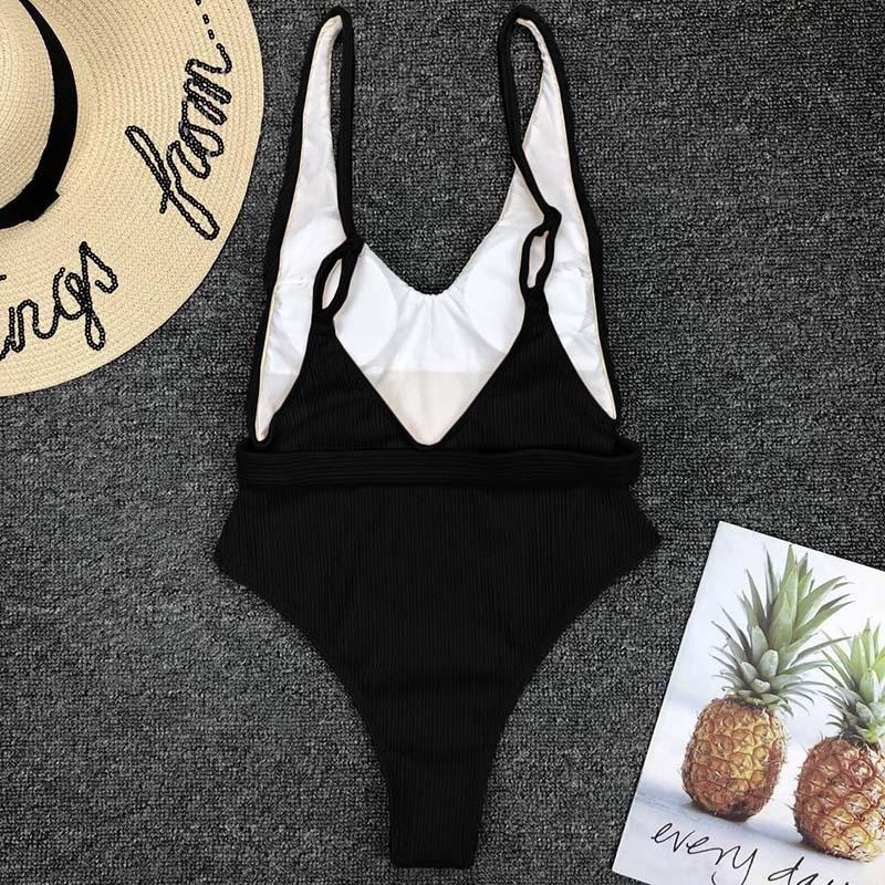 Одноцветный купальный костюм с бретельками, модель 2020 года, сексуальный купальник для женщин, с поясом, с высокой посадкой, пляжная одежда, u-... 31