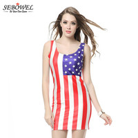 SEBOWEL Flag Of The United States Mini Dress Elegant Women Summer Pencil Dress Sleeveless 2017 Casual