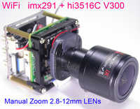 "WiFi H.265 / H.264 1/2.9"" STARVIS IMX291 CMOS + Hi3516C V300 CCTV IP camera PCB board module + Manual Zoom LENs + FPC Antenna"