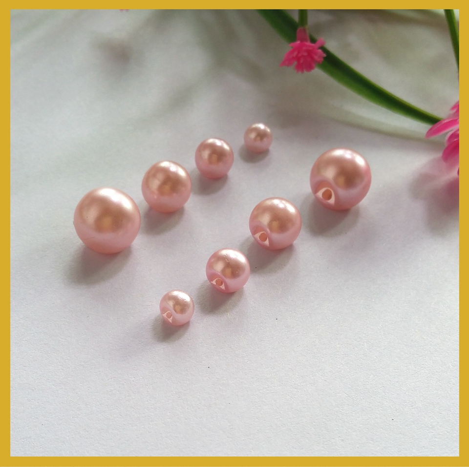 200Pcs Side Hole Pink Plastic Pearl <font><b>Buttons</b></font> mixed 6mm/<font><b>8mm</b></font>/10mm/12mm Round for Garment Sewing <font><b>Buttons</b></font> image
