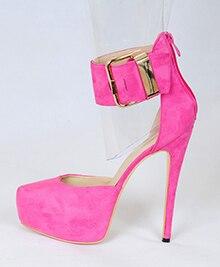 2016 New Fashion Customize stiletto women's shoes Platform Sandals ankle wrap shoes Suede casual summer Zip Pink Pumps size5-15 new 2016 fashion suede