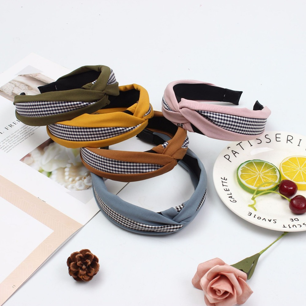Korean version of the new hair accessories headdress Cloth cross knot hit color lattice headband