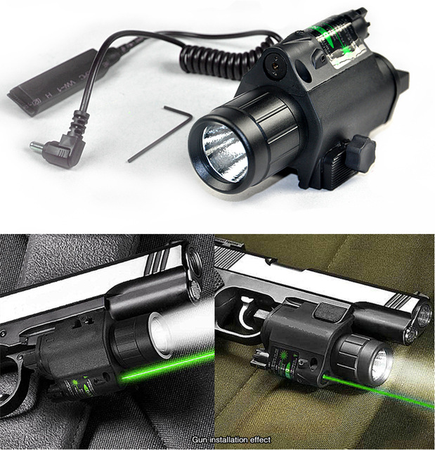 2in1 Combo Tactical CREE Q5 LED Flashlight/LIGHT 200LM +Green Laser Sight For pistol/gun Handgun Glock 17 19 22 20 23 31 37