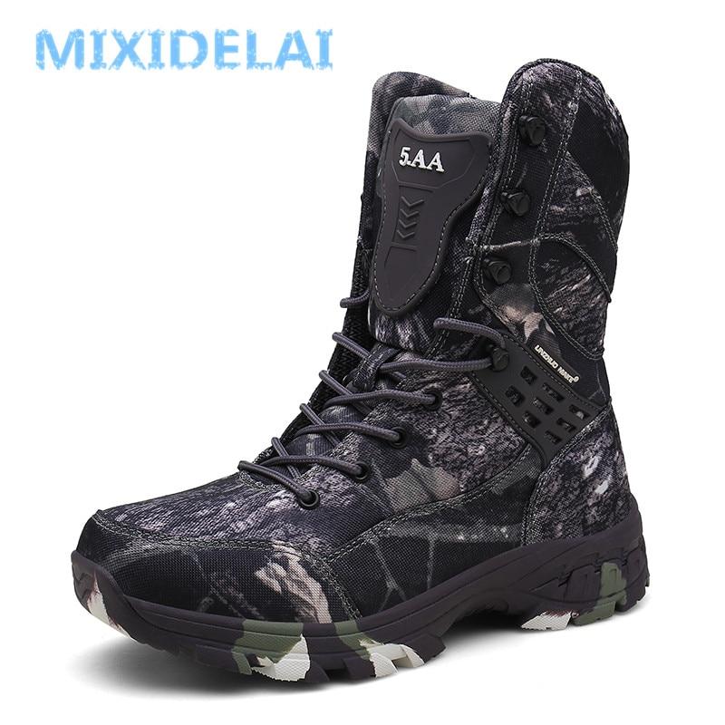 New Waterproof Men Tactical Military Boots Desert Boots Hiking Camouflage High-top Desert Men's Boot