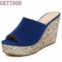 Fashion Sequins High Heel Slippers Women Summer Shoes Suede Platform Sandals Ladies Wedges Sandals Brand Flip