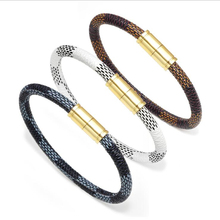 Fashionable Black Brown White Genuine Braided Leather Bracelet&Bangle Women Men Alloy Magnetic Charms Bracelet Gift