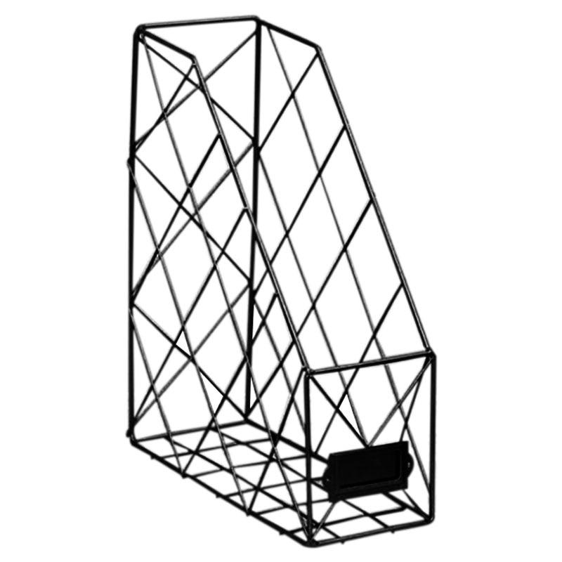Скандинавские креативные органайзеры для журналов Ins, полированный металл, железная папка для документов, для офиса, рабочего стола, сетка для файлов - Цвет: Черный
