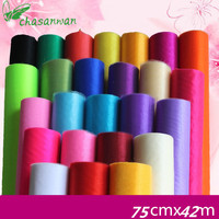 Hot Sale 75cm 50m Sheer Crystal Organza Tulle Roll Fabric For Wedding Party Decoration Or Birthday