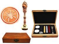 Vintage Spider Custom Luxury Wax Seal Sealing Stamp Brass Peacock Metal Handle Sticks Melting Spoon Wood
