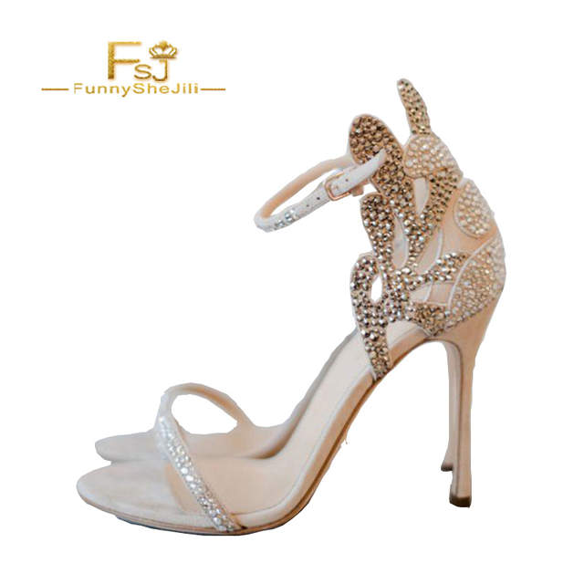 71a99226391fd Champagne Wedding Shoes Rhinestone Stiletto Heels Bridal Sandals Woman  Shoes Summer 2018 Crystal Party Ankle Strap Size 11 FSJ
