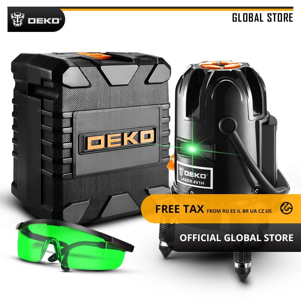 Mondiale DEKO DKLL501 Auto-nivellement 5 Ligne 6 Points Horizontal et Vertical Vert Laser Ligne 360 Degrés Laser D'ajustement niveau Y Boîte
