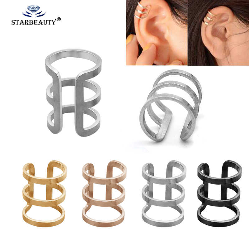 2Pcs Stainless Steel Non Piercing Closure Rings Fake No Piercing Double Triple Hoop Ear Cuff Clip On Earring Tragus Cartilage
