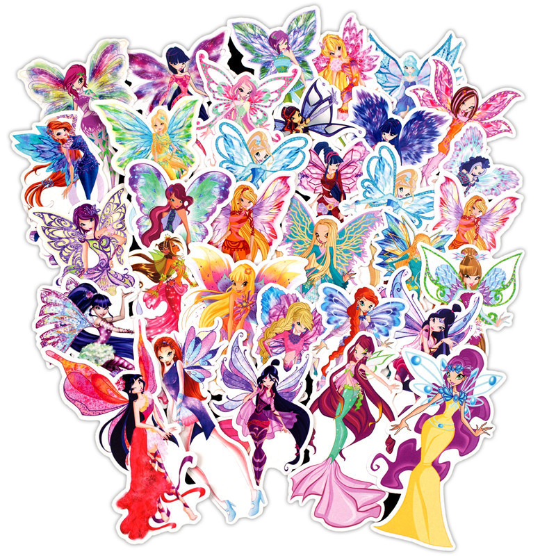 30 Butterfly Fairy Mixed Graffiti Stickers Bike Motorcycle Phone Laptop Travel Luggage For Guitars PVC Waterproof Car Stickers