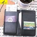 Clearance Women RFID Business Passport Holder Leather Wallet Men Travel Organizer Wallets Functional Card Holder Purse Black