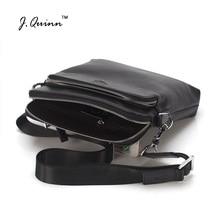 J.Quinn New Men Shoulder Bags Top Cowhide Genuine Leather Male Bag Single Slim Business Travel Ipad Small Crossbody Mens Bag