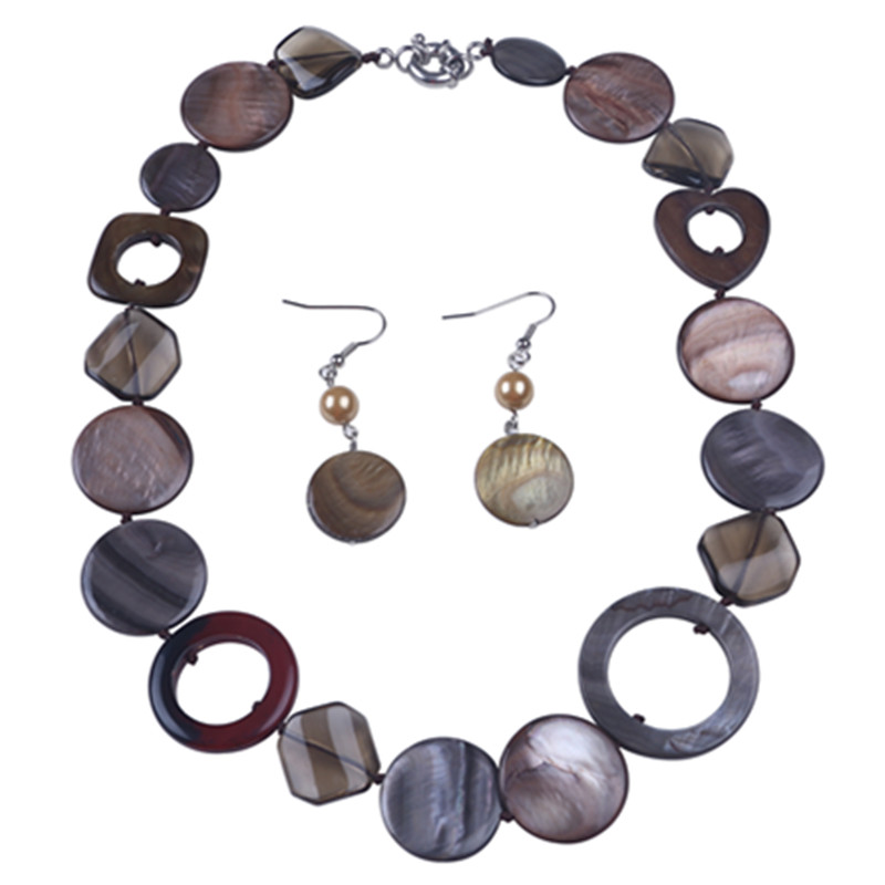 hot fashion 25mm sea shell bead necklace earrings crystal retro necklace rope choker women necklace jewelry set factory direct