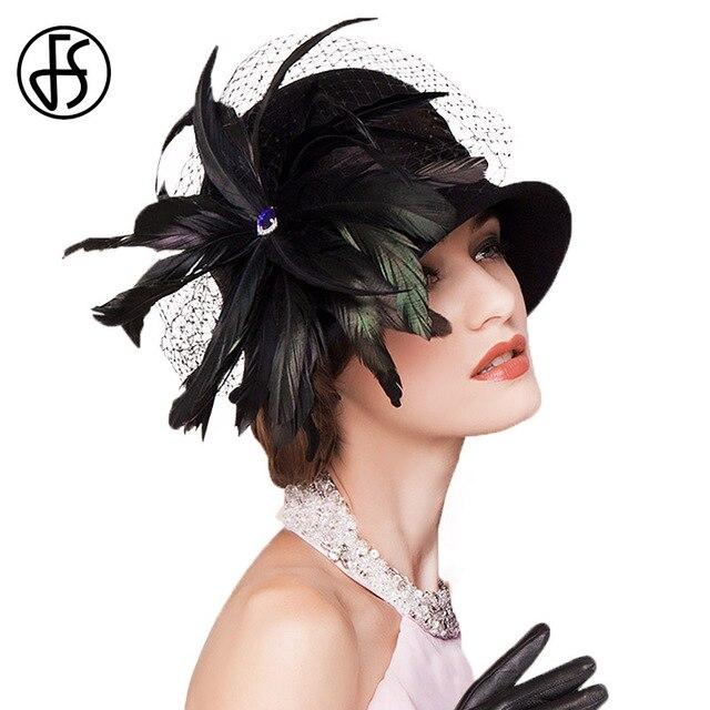 FS tocados 100% Australia Fedora de lana negro pluma mujer elegante cóctel  sombreros invierno Retro 44b09ab4d194