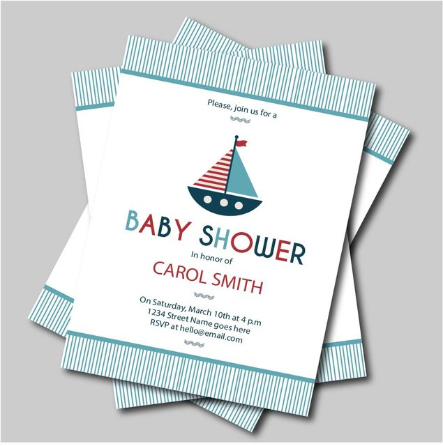 20 pcs lot custom sail boat baby shower invitation birthday party