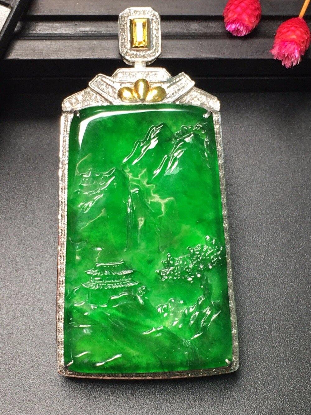 18.10.6 Collection Burmes Real 18K Gold AU750 LOVE 100% Natural Green Jade Gemstone Chicken Myanmer Origin for Women Gift