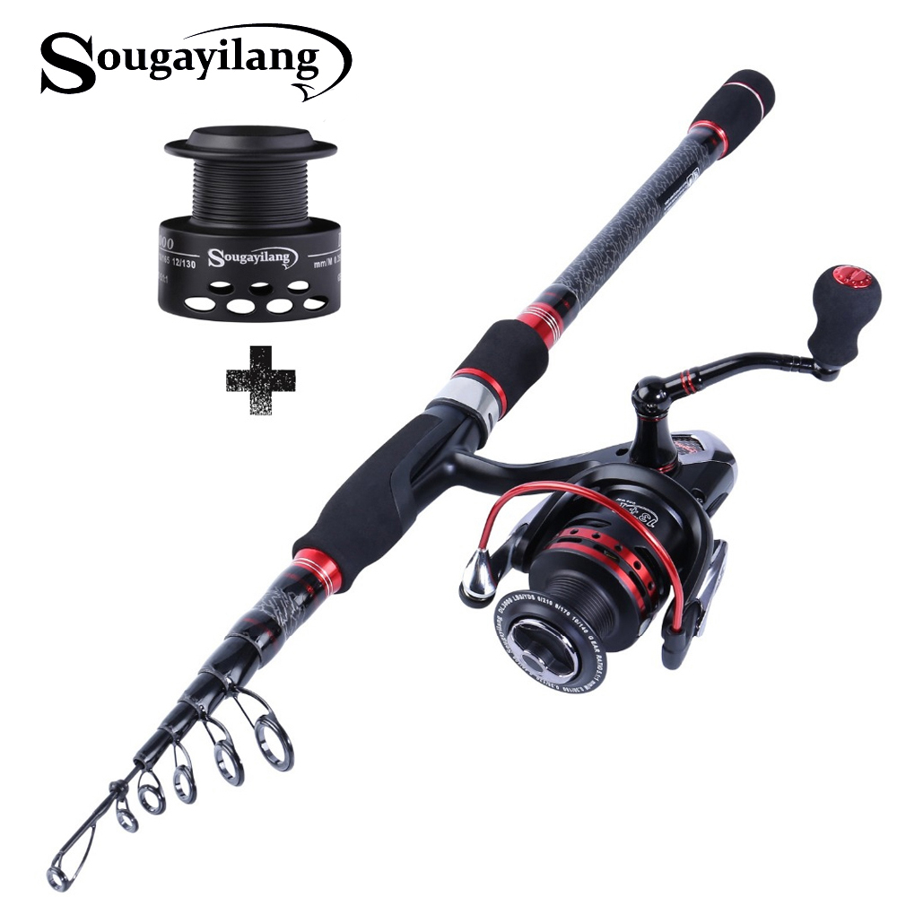 Sougayilang 1 8m 3 0m Telescopic Fishing Rod and Spinning Fishing reel Combo Carp Carbon Lure