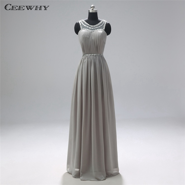 CEEWHY Gray Saudi Arabia Evening Dress Plus Size Long Evening ...