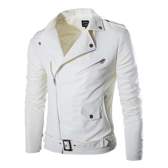 2017 New Mens Slim Diagonal Zipper Coat Leather Motorcycle Jacket Men Off White Leather Jackets Veste Homme 13M0171