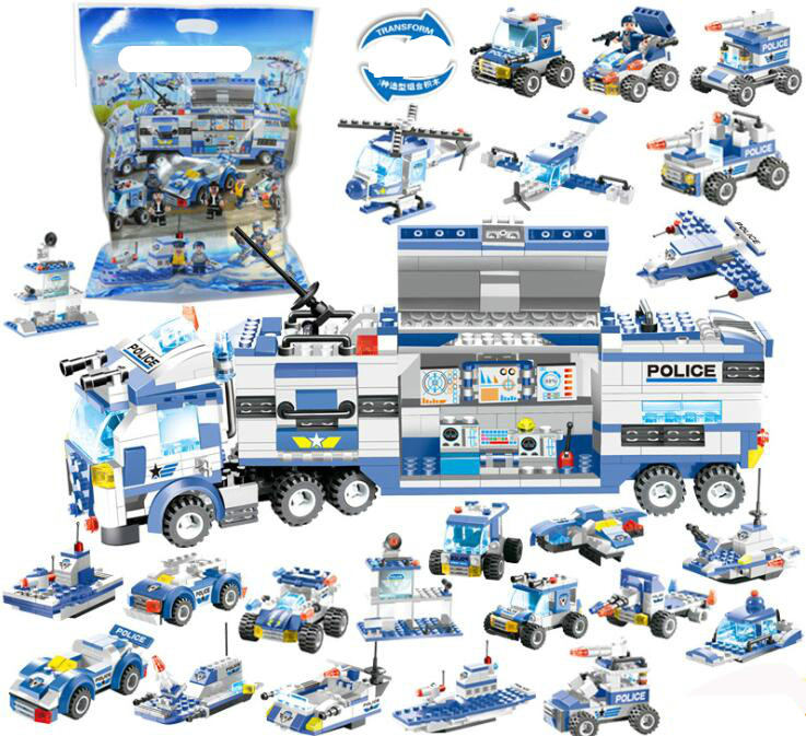 762PCS SWAT City Police Truck Building Blocks Sets Ship Helicopter Vehicle Bricks Compatible All Toys For Children