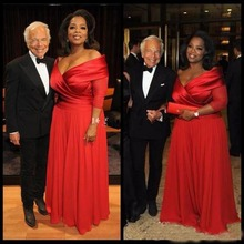 2019 Oprah Winfrey Off Shoulder Plus Size Evening Dresses 3/4 Long Sleeve Ruched Red Chiffon Prom Dress Mother of Bride