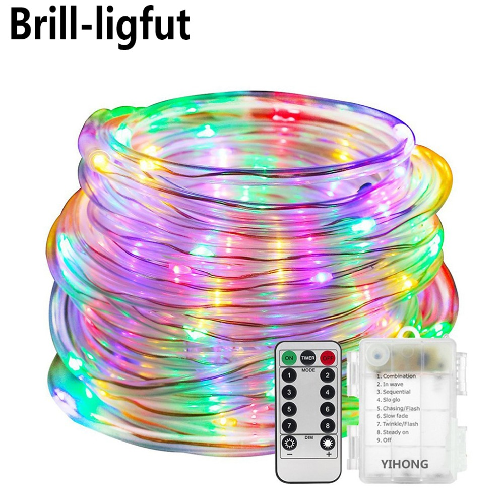 Outdoor String <font><b>Lights</b></font> <font><b>10M</b></font> <font><b>100LEDs</b></font> Battery Operated LED Rope Tube String <font><b>Lights</b></font> for Patio Easter Christmas Party Wedding Holiday image