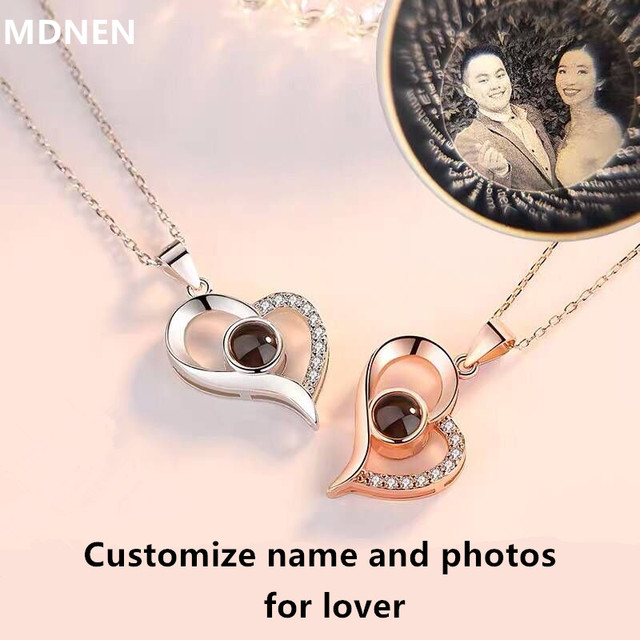 a531435b3 Personalized Custom Name/ Photo Necklaces 100 Languages I Love You  Projection Nameplate Pendant Necklace Love Valentine Day Gift