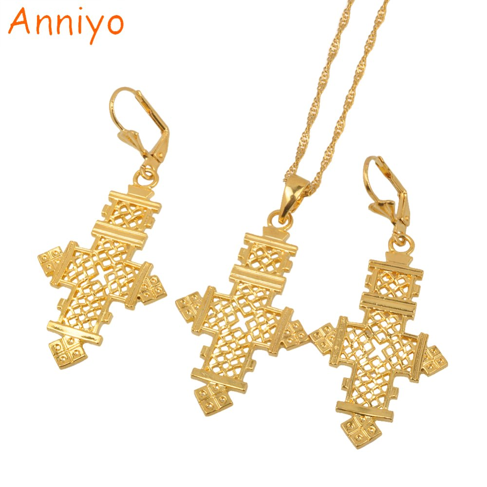 Anniy Ethiopian Set Jewelry Coptic Cross Pendant Necklaces And Earrings Gold Color Eritrean Crosses African For Women 003116 In Sets From