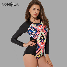 AONIHUA 2018 Geometric Printed One Piece Swimsuits Women Long sleeve Surfing Push up Swimwear female Bathing Suits 2157