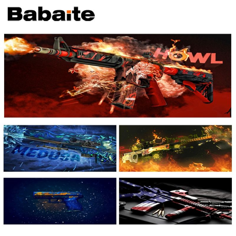 Babaite Weaponry shot Laptop Computer Lockedge Mousepad Size for 30x90CM Speed Version Gaming Mousepads ...