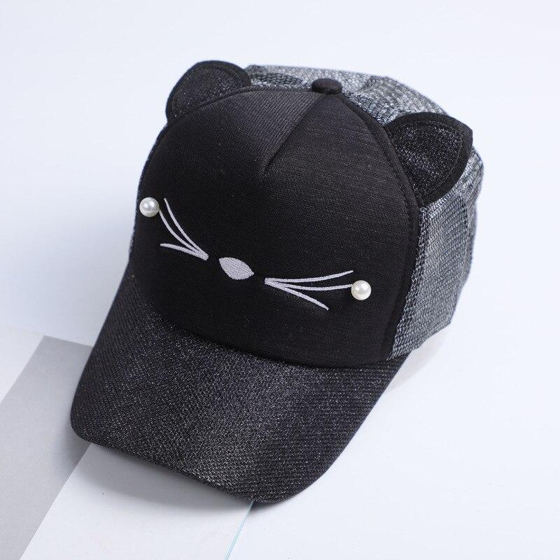 personnalisé vente la plus chaude la clientèle d'abord € 5.82 6% de réduction Nouveau femmes chat casquette de Baseball avec  oreilles de chat mignon courbé bord Snapback chapeau chat visage perle  coton ...