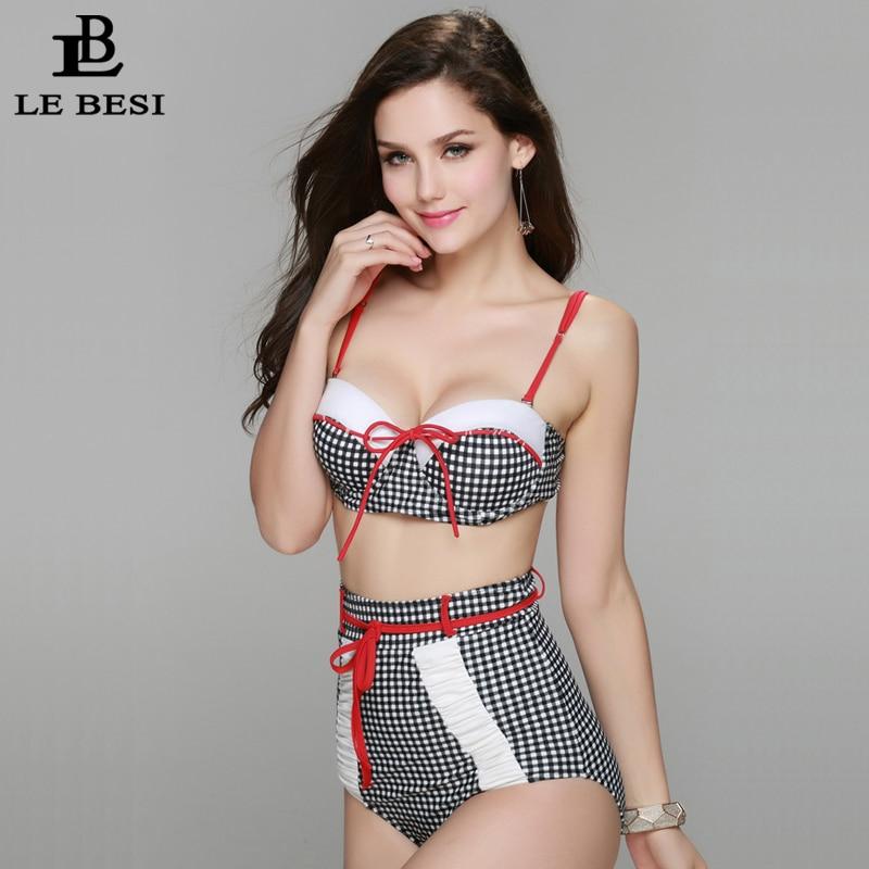 LEBESI 2017 nieuwe hoog getailleerde bikini plaid biquini plus size - Sportkleding en accessoires