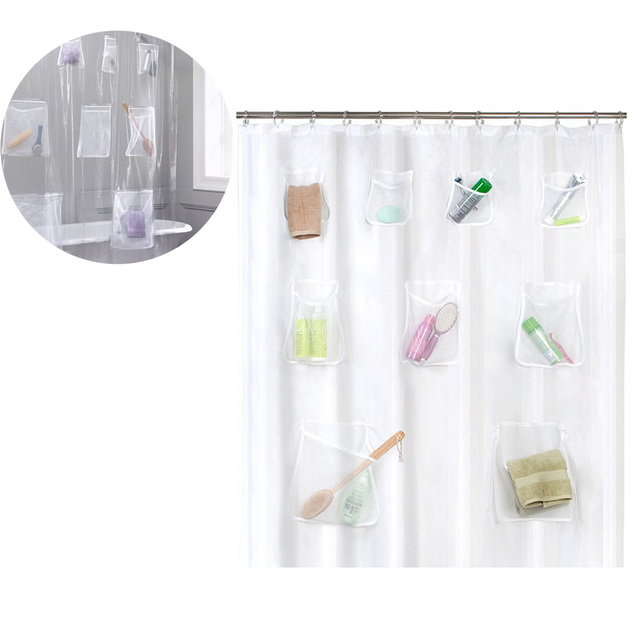 Clear Shower Curtain PVC Translucent With Pockets Waterproof Bathroom For IPad Tablet Phone Holder E2S